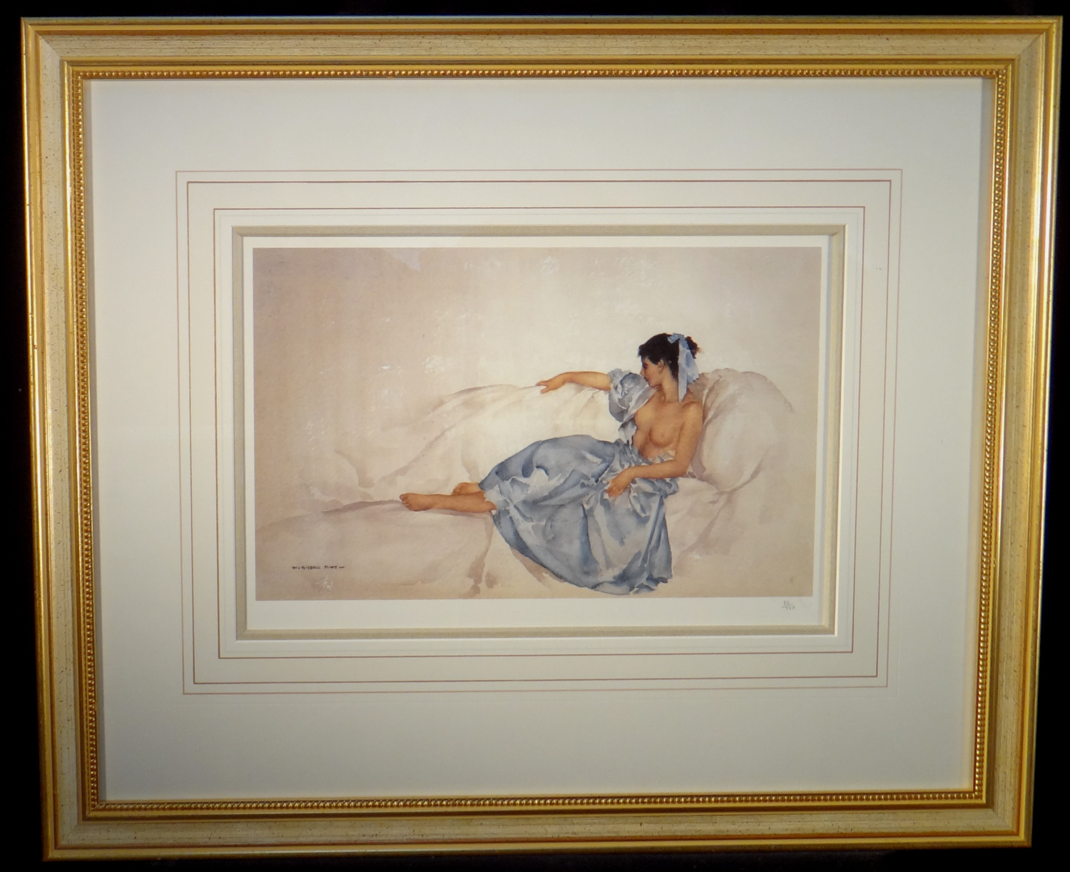 russell flint, signed limited edition print, blue ribbon
