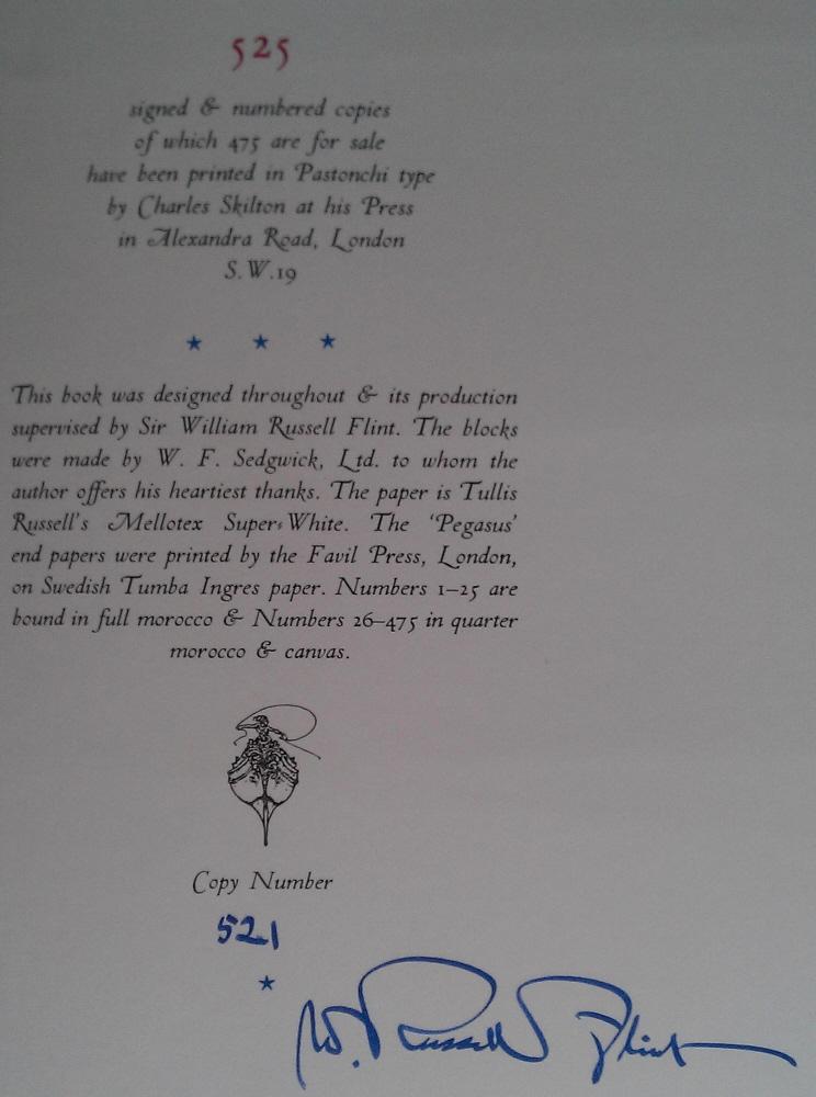 sir william russell flint breakfast in Perigord signed book