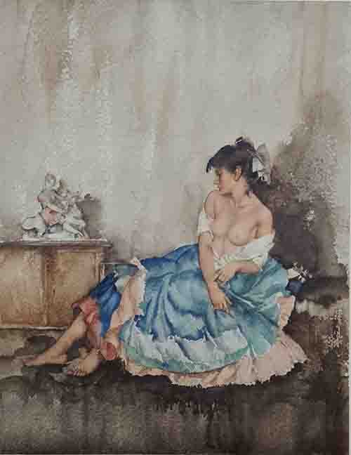 russell flint, Cecilia contemplating Europa, limited edition print
