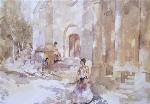 sir william russell flint Gypsies outside a church calendar print