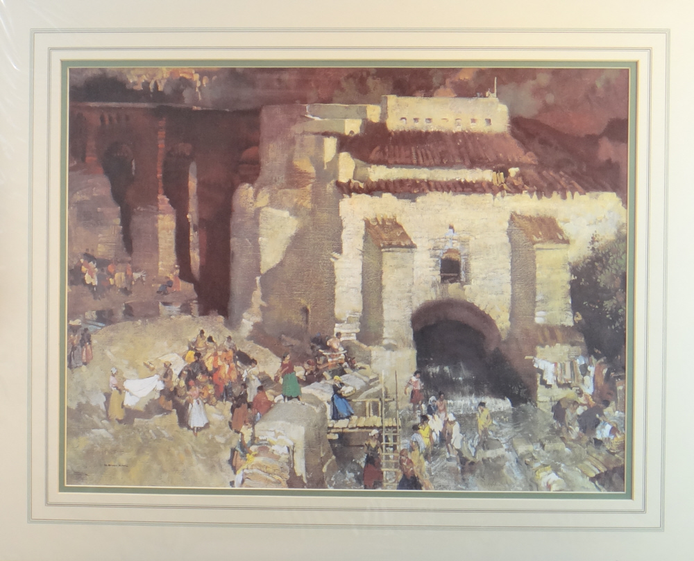 russell flint gypsy festival st. andalusia print, mounted