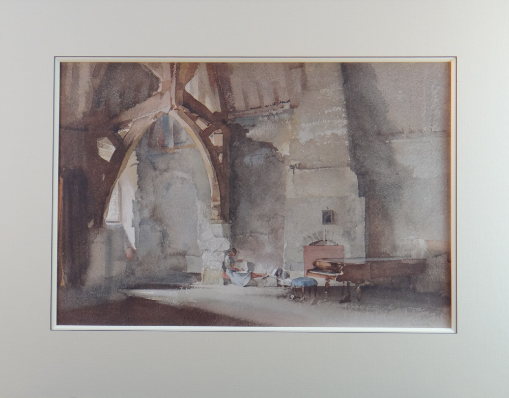sir william russell flint, Interior at Chichester, print, mounted