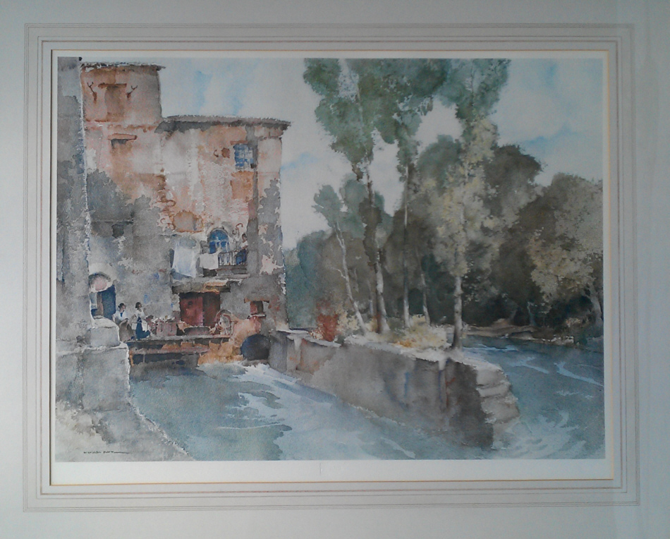 russell flint, mill, barbaste, print