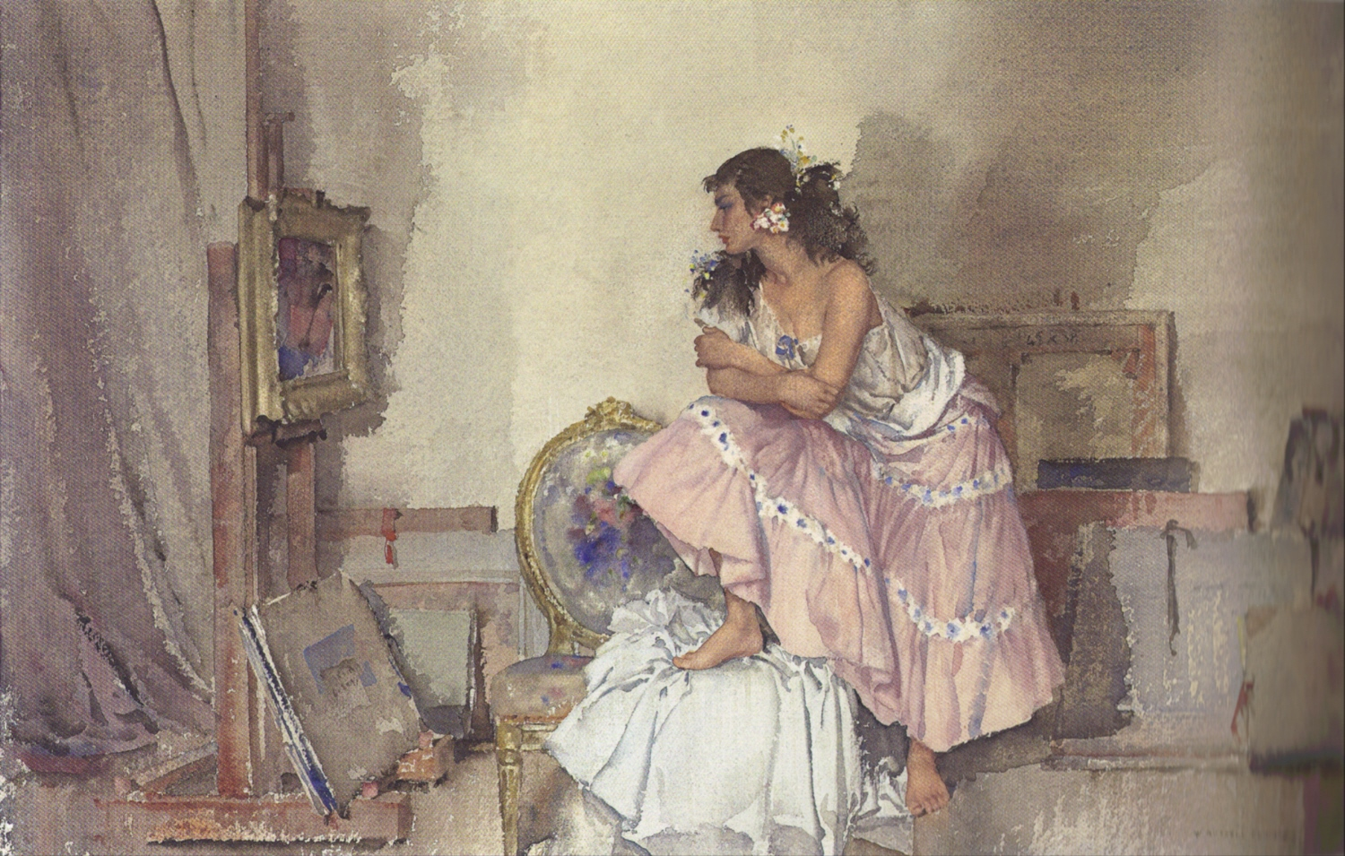 russell flint watercolour,  model and critic