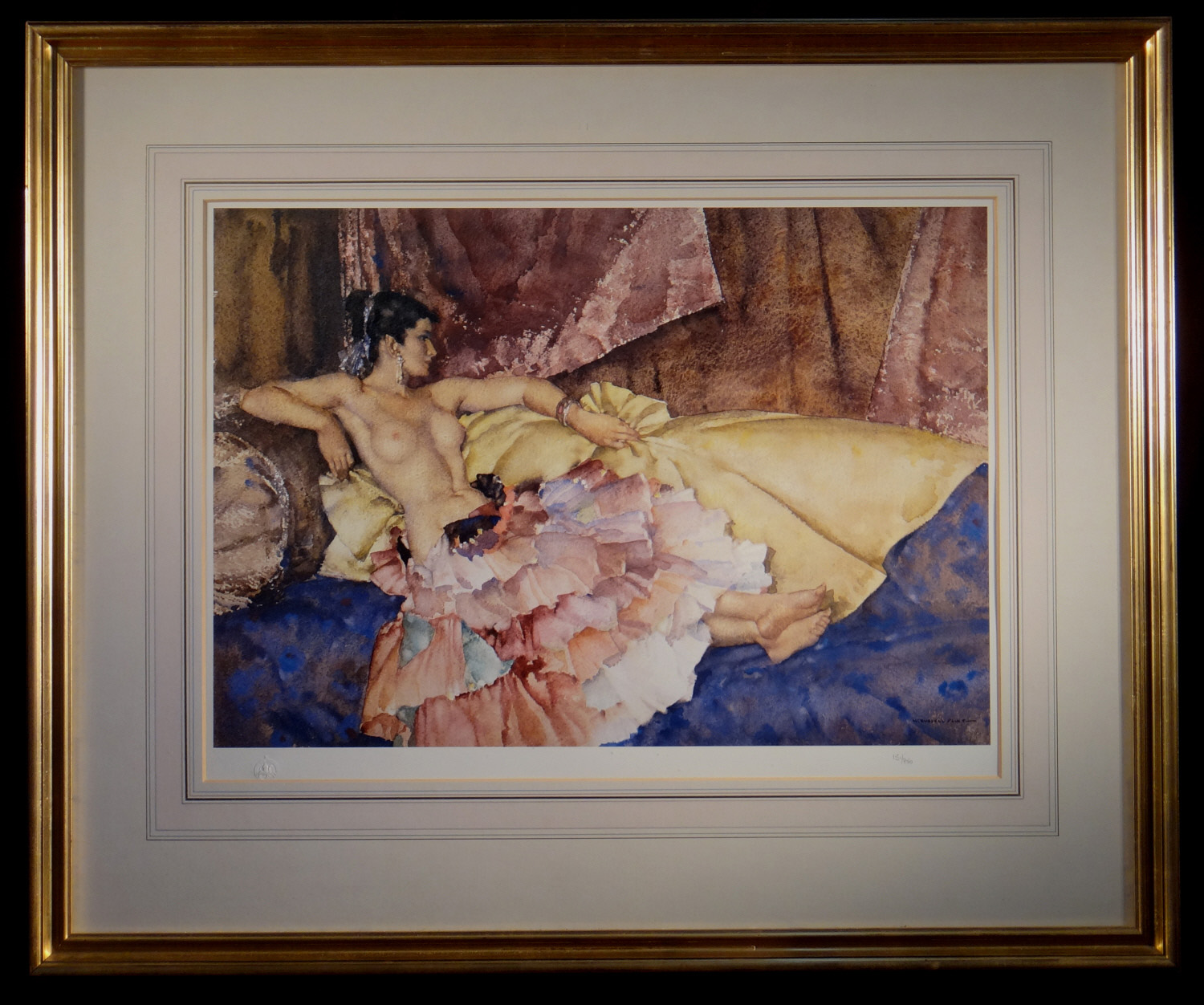 russell flint, signed limited edition print, model for elegance