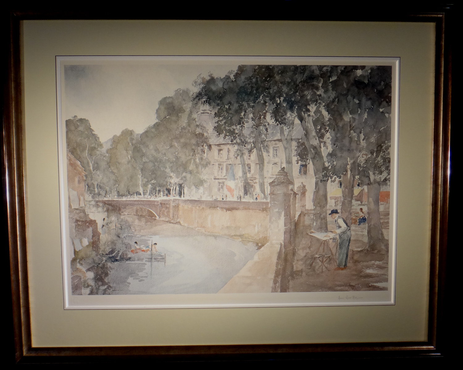 russell flint, my father painting at Brantome, signed limited edition print