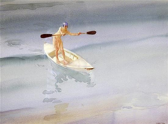 sir william russell flint, balance, watercolour painting