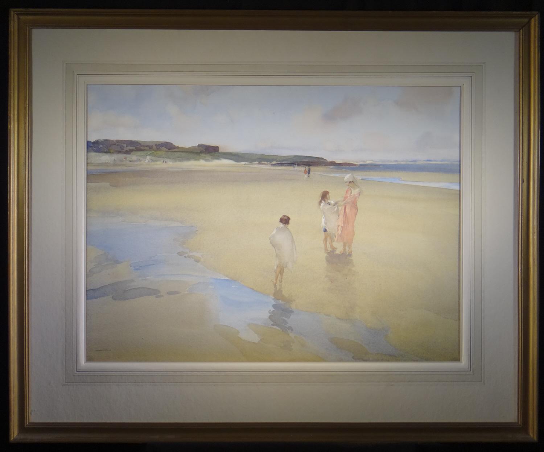 russell flint watercolour, broad  beach bamburgh