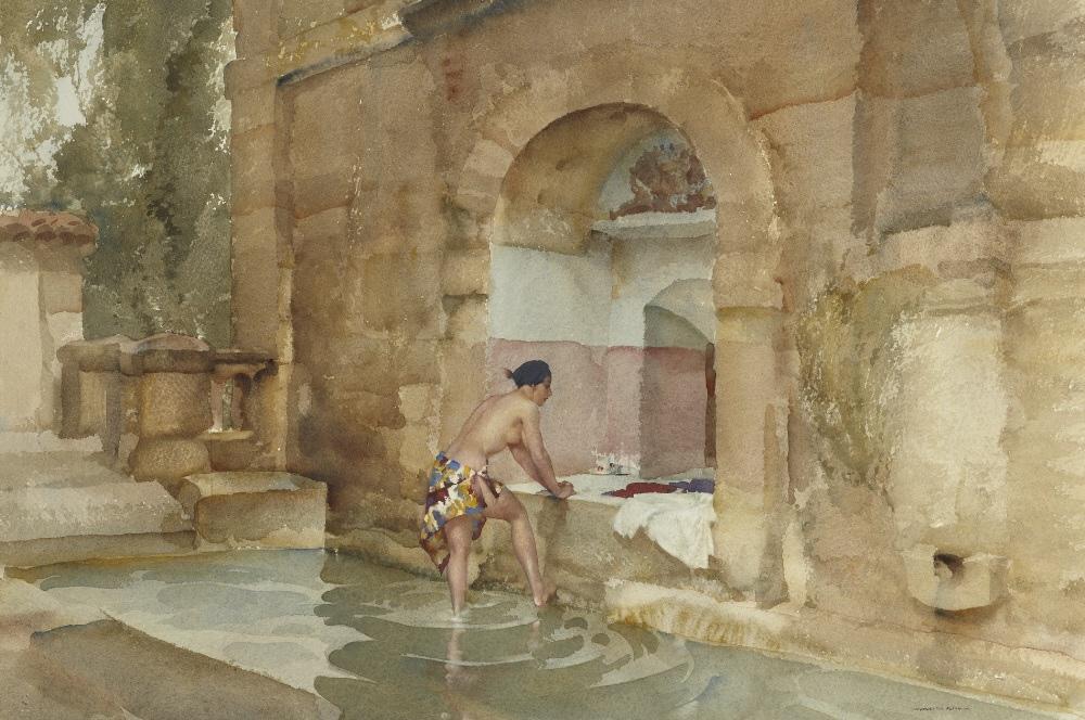 russell flint watercolour,  bath of Susanna