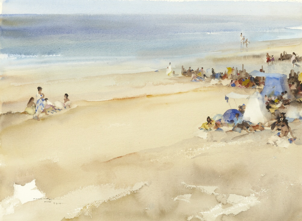 russell flint watercolour, the blue tent, Parame