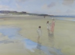 sir william russell flint, broad beach, bambugh, original watercolour painting