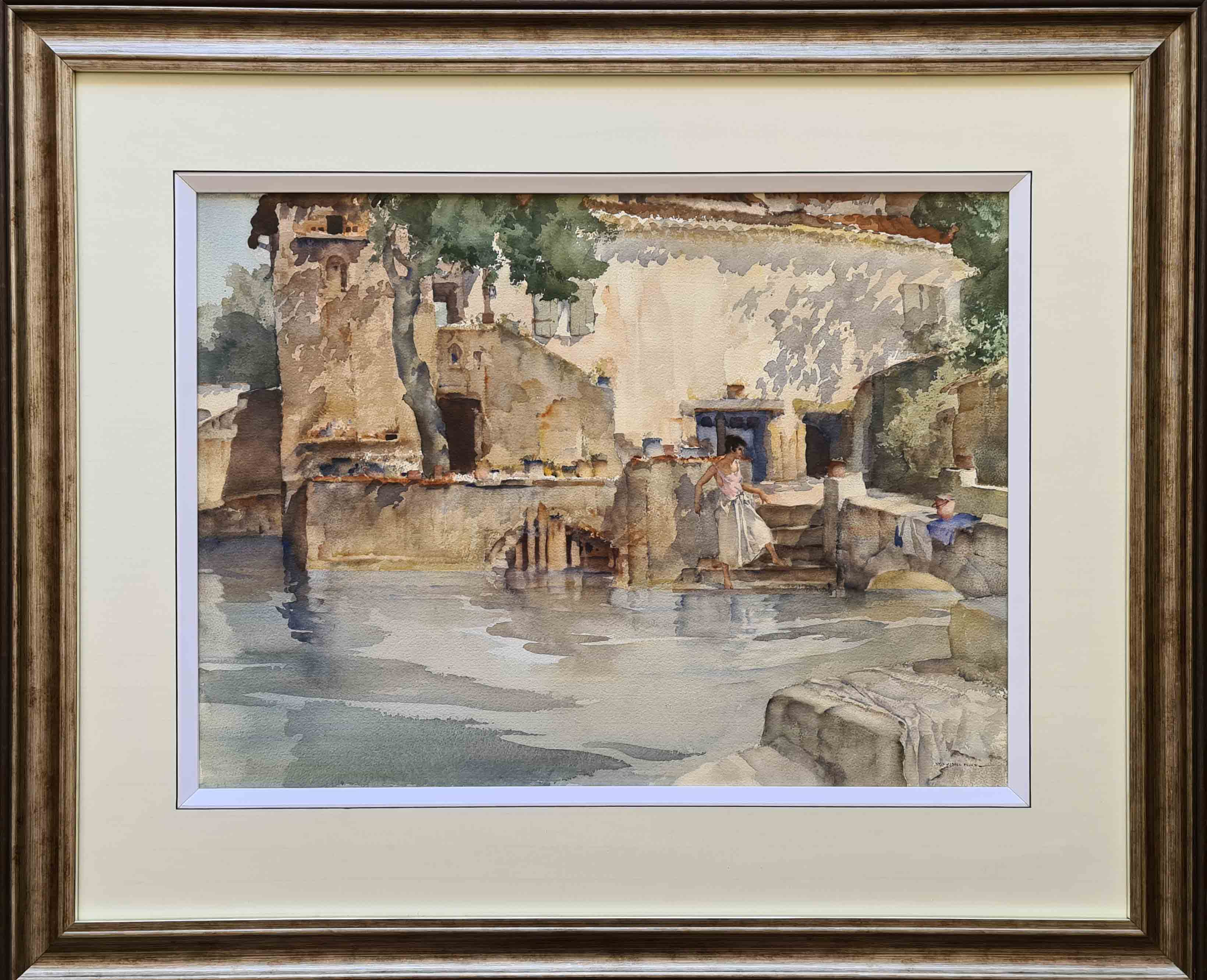 russell flint, original painting, carp pool