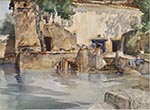 originals watercolour paintings, sir william russell flint, Koi pond, cecilia