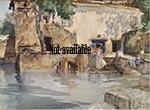 original paintings, sir william russell flint, Koi pond, cecilia