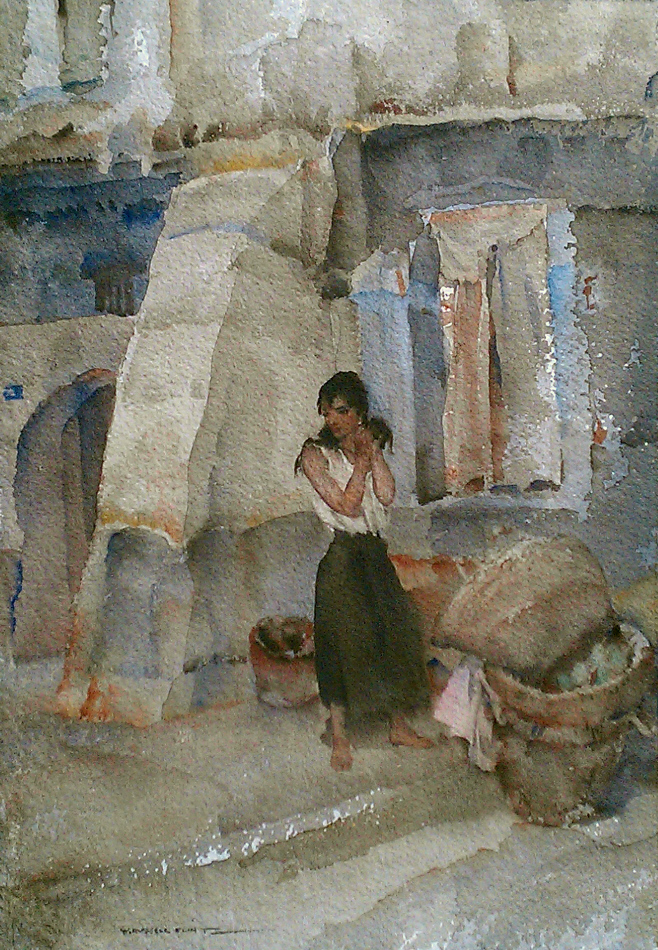 sir william russell flint Cecilia's earing original watercolour painting