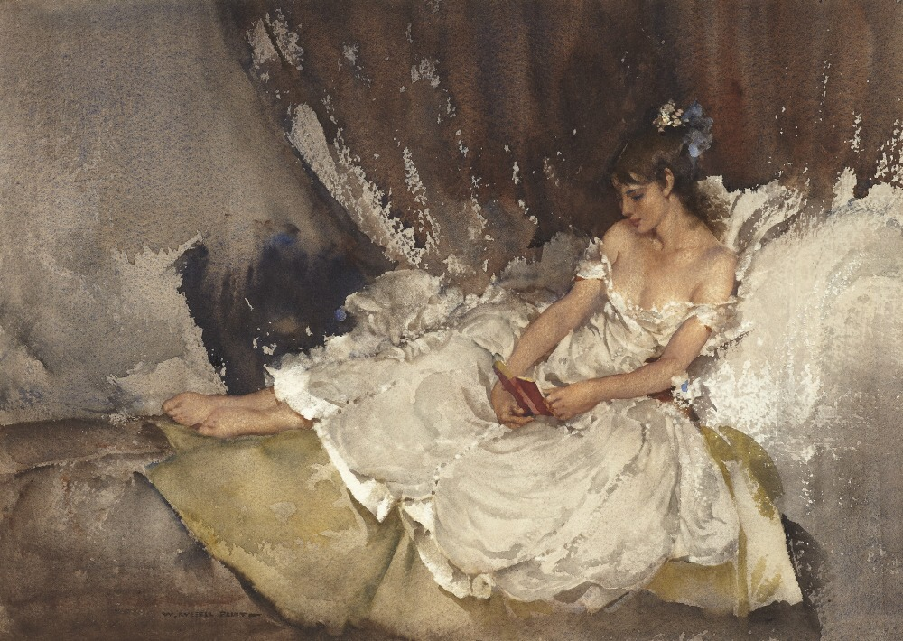 russell flint watercolour, cecilia reading poems