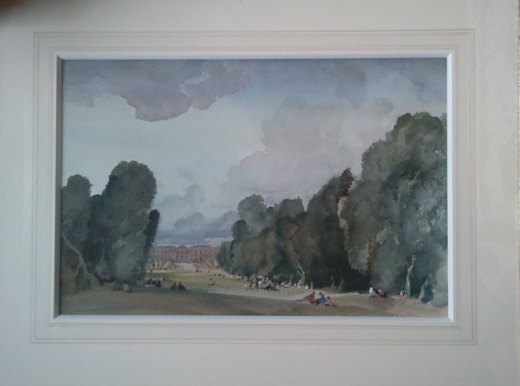 russell flint watercolour, france, compiegne mounted