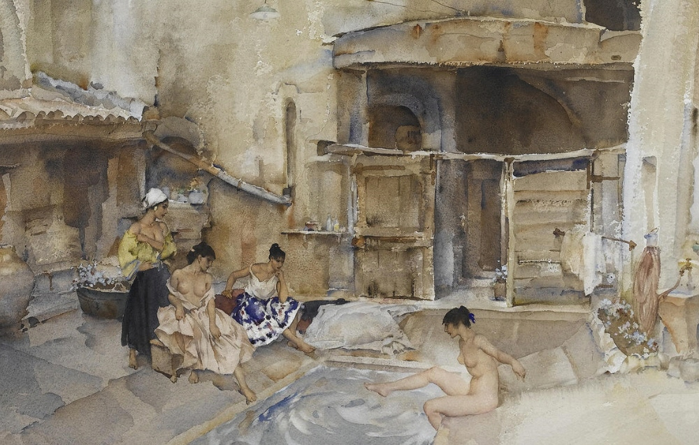russell flint watercolour, Courtyard caprice