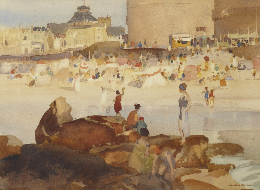 russell flint watercolour, crowded beach