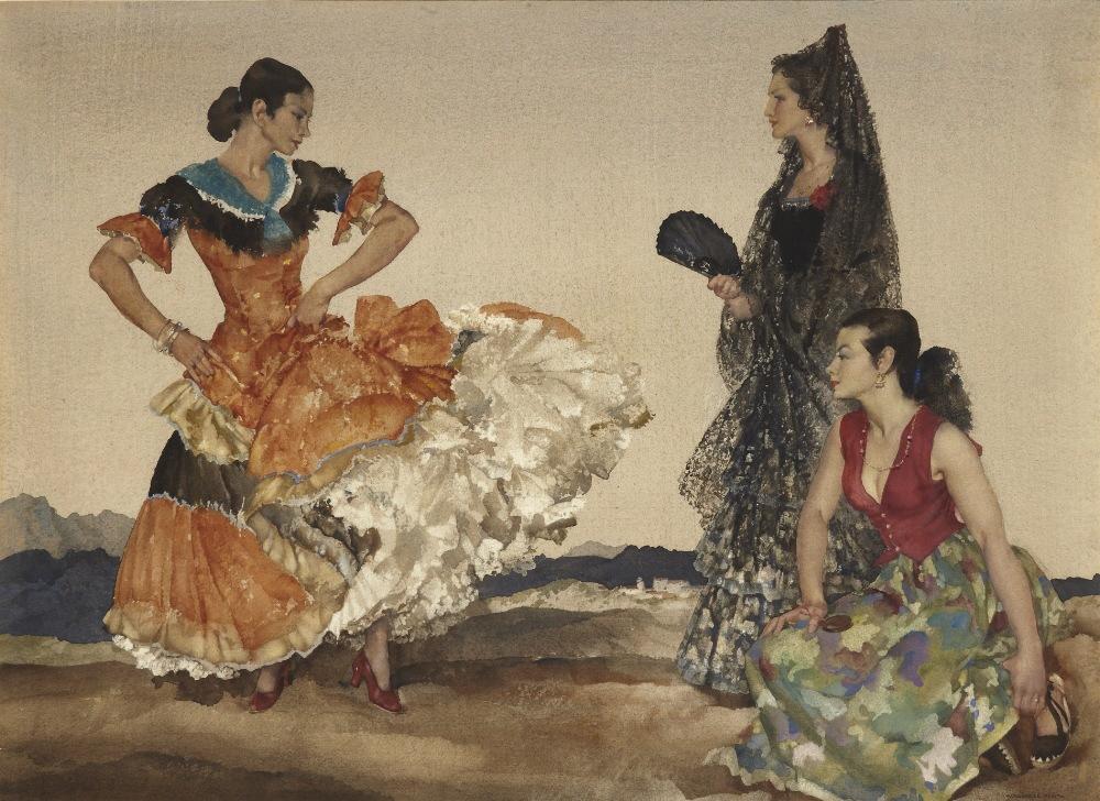 russell flint watercolour, dance of a thousand flounces