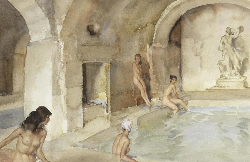 russell flint watercolour, Diana's Secret Vault, Languedoc