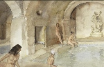 sir william russell flint, Diana's Secret Vault, Languedoc, watercolour painting