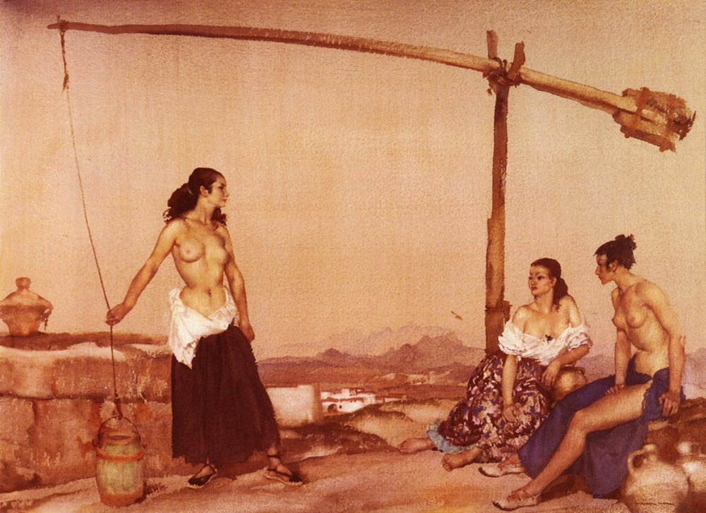 sir william russell flint dispute at the well painting