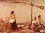 sir william russell flint, dispute at the well, watercolour painting