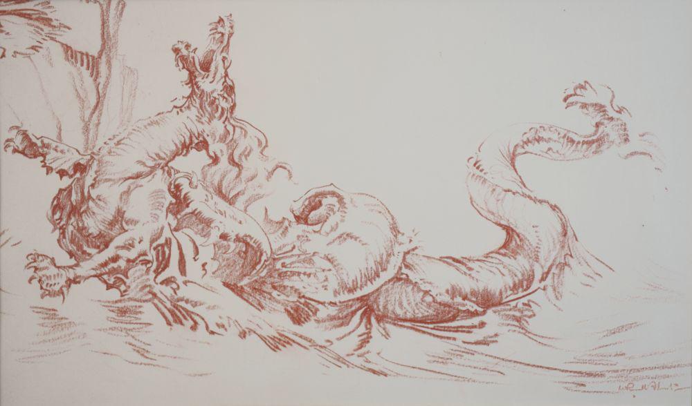 russell flint, original, red chalk, drawing, Dragon of Versailles, France