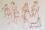 sir william russell flint four studies originals red chalk drawing