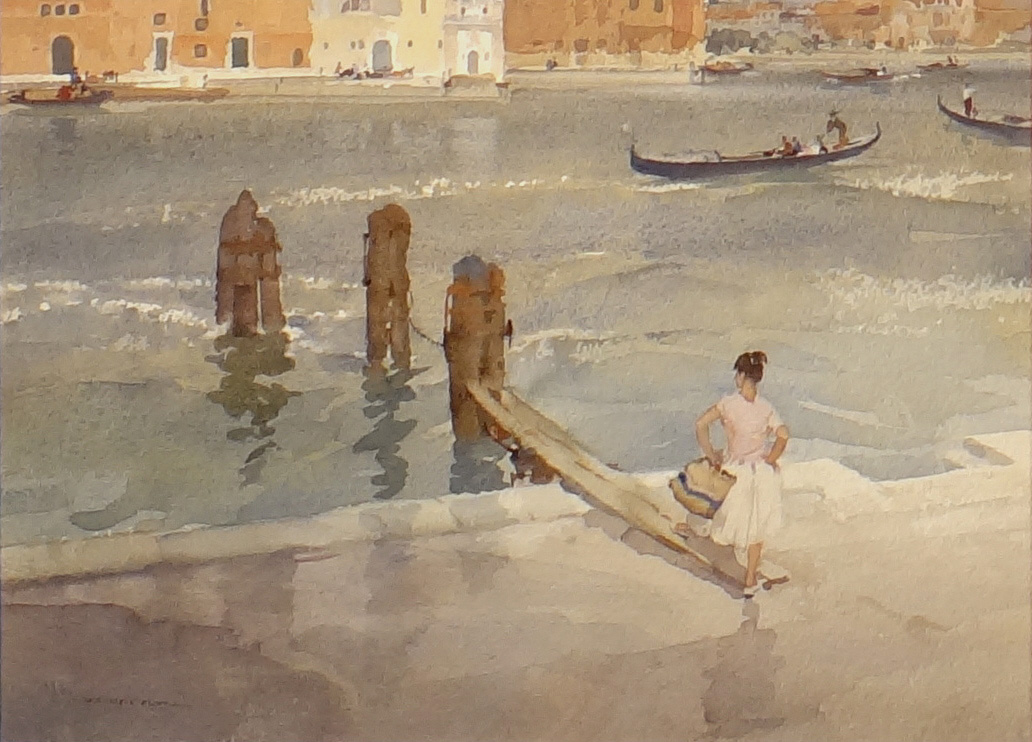 russell flint, original painting, From a window in Venice