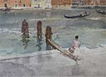 originals waercolour, sir william russell flint, from a window in venice, cecilia