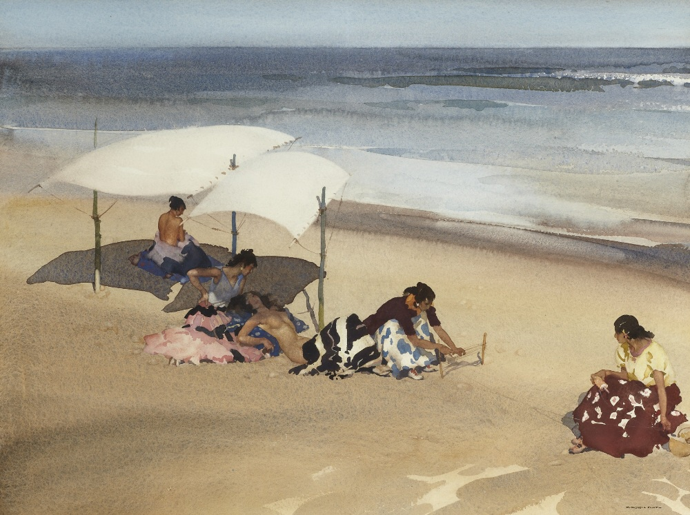 russell flint watercolour, gypsies on the beach, Zarauz