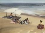 sir william russell flint, Gypsies on the beach Zarauz, watercolour painting