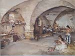 sir william russell flint la cave vout�e original watercolour painting
