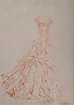 russell flint, lady, original drawing