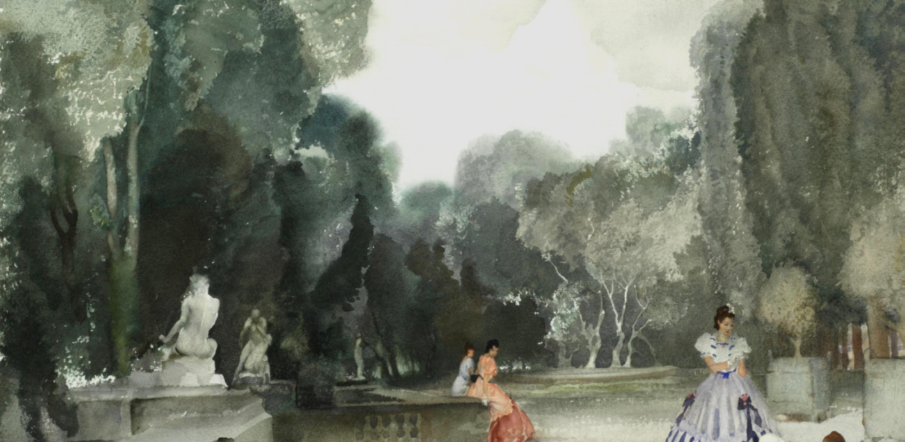 sir william russell flint paintings, le jardin