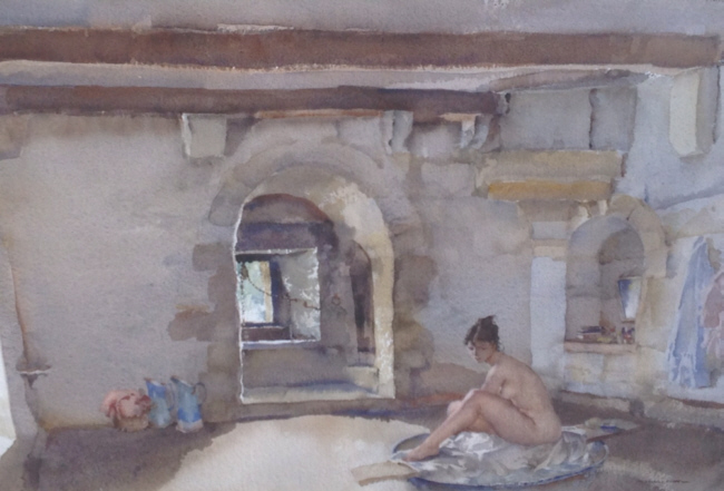 russell flint watercolour, the well water bath