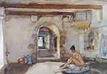 sir william russell flint, Le Puit Cachè, original watercolour painting