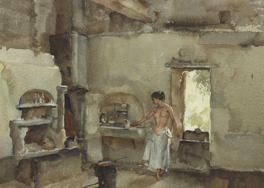 russell flint watercolour, mathilda's kitchen