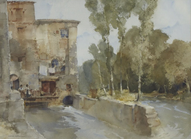 Russell Flint, originals watercolour painting, the mill, Barbaste