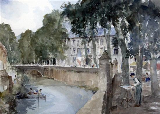 russell flint my father painting at Brantome original watercolour