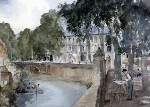 francis murray russell flint My father painting at Brantome original watercolour painting