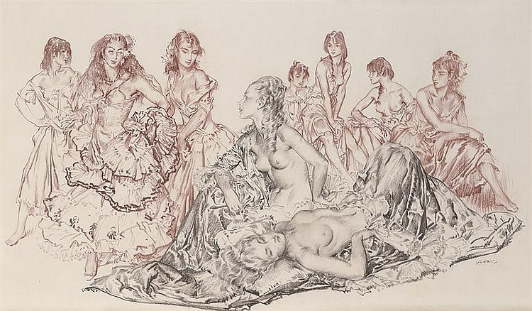 russell flint watercolour, Nine Studies