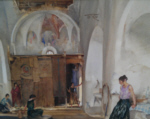 sir william russell flint Nomads in the church Languedoc original watercolour painting