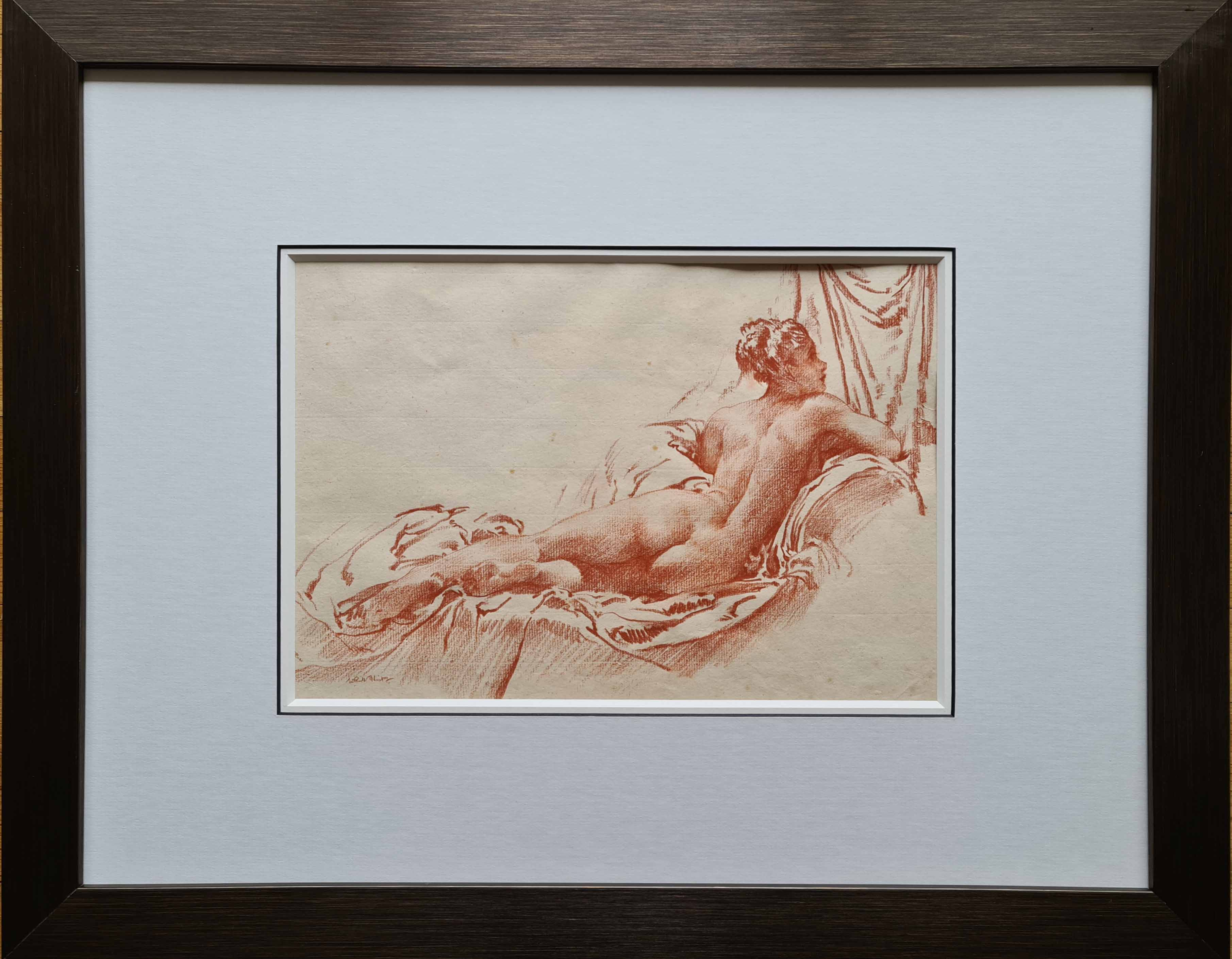 russell flint, original, drawing, red chalk, nude