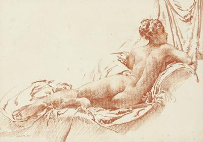 Rosalinda, original, nude red chalk drawing
