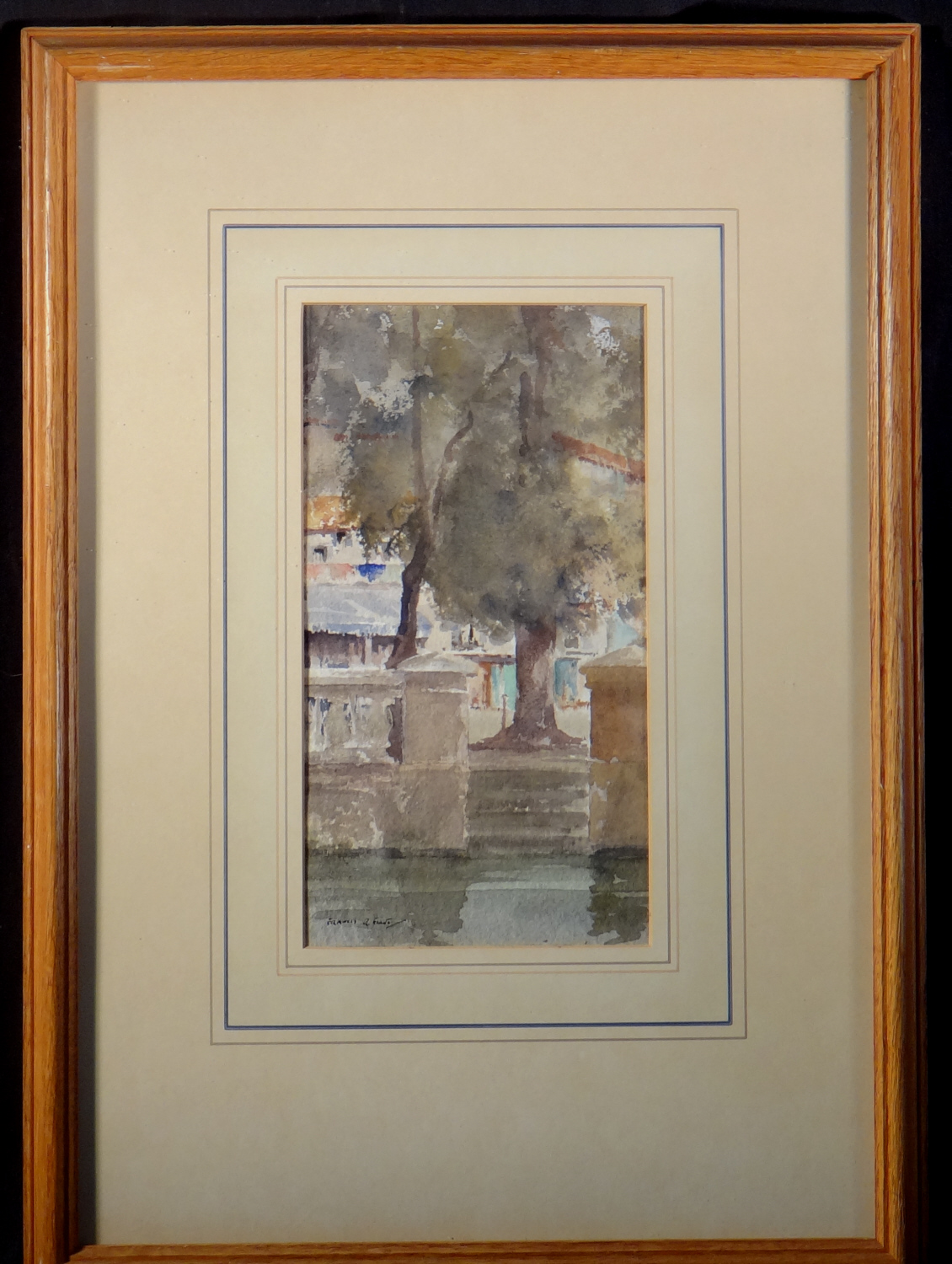 frances murray russell flint, across the moat, Brantome, original watercolour painting