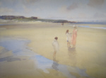 sir william russell flint, original watercolour painting, broad beach, bambugh