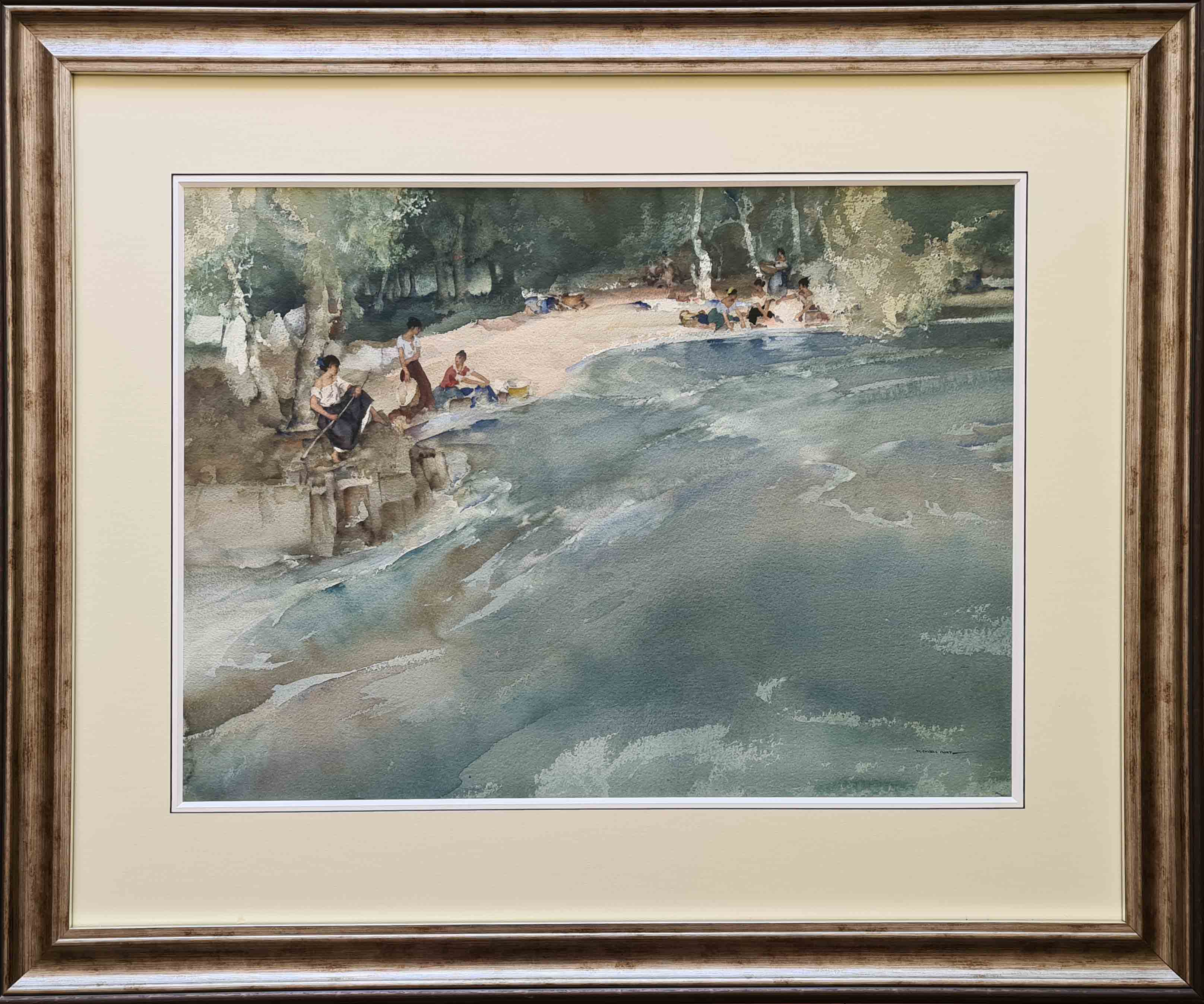 Sir William Russell Flint, original, painting, washerwomen on the Cere at Bretenoux, France